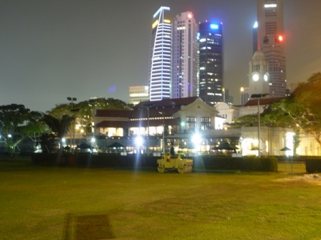 Singapore Cricket Club with skyscrapers in the background