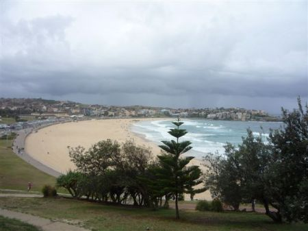 A rather deserted Bondi Beach on an overcast day
