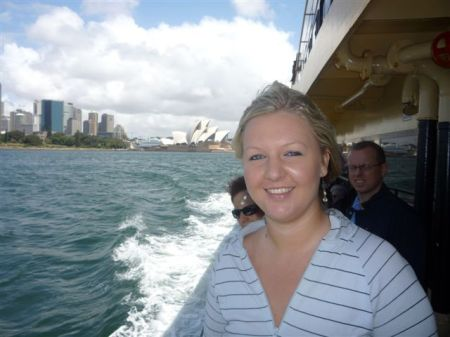 Sarah poses with the Opera House in the background