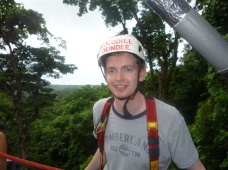 Alex aka Crocodile Dundee kitted out for zip-lining in Cape Trib