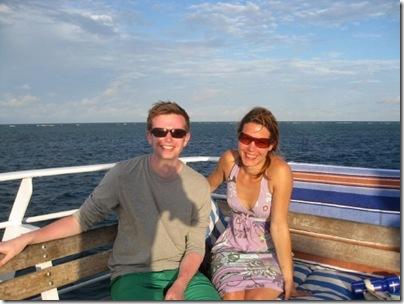 Alex and Marie enjoying the sun deck between dives
